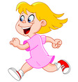 little girl running vector image vector image
