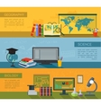 Online education flat horizontal banner set vector image vector image