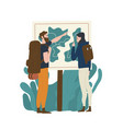 pair tourists standing in front map vector image vector image
