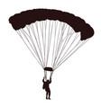 parachutist in flight silhouette man in air jump vector image