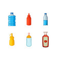 plastic bottle icon set cartoon style vector image vector image