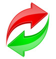 red and green arrows in circular motion recycle vector image vector image