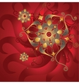 Red oriental background with gold ornament vector image
