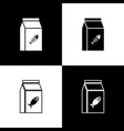 set bag food for cat icons isolated on black vector image vector image