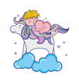sleeping boy with heart and unicorn in the clouds vector image vector image