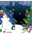 snowman and lonely cat vector image vector image