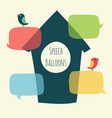 speech bubble with bird and nesting box vector image vector image