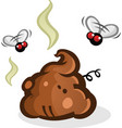 stinky poop pile with flies cartoon vector image vector image