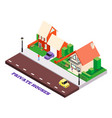 town houses isometric composition vector image vector image
