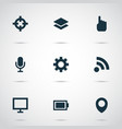 user icons set with location setting feed and vector image vector image