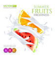 watermelon and orange slices falling in milk or vector image vector image