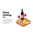 wine tasting banner isometric vector image vector image