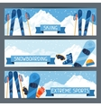 Winter extreme sports banners with mountain winter vector image