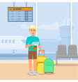 young guy traveling by airplane airport terminal vector image vector image