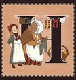 children book cartoon fairytale alphabet letter h vector image