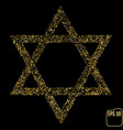 golden star of david isolated on black gold stars vector image