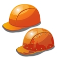 Two yellow safety hard hat on a white background vector image