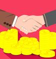 Businessmen shaking hands deal of money vector image