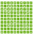 100 active life icons set grunge green vector image vector image