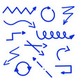 abstract blue arrows set doodle handmade marker vector image vector image