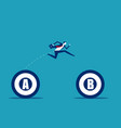 businessman jumping from a to b target business vector image