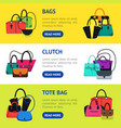 cartoon handbag or female bags banner horizontal vector image vector image