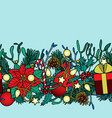 christmas colorful seamless border vector image