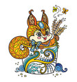 colored kawaii cute squirrel in a cup vector image