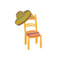 colorful mexican chair and sombrero hat cartoon vector image