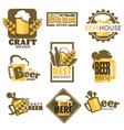 craft beer isolated icons mug with foam and barley vector image vector image