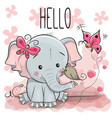 cute cartoon elephant with bird vector image vector image