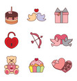cute valentine simple drawing graphic set vector image