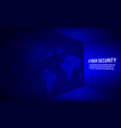 cyber security concept on binary code background vector image vector image