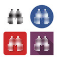 dotted icon binoculars in four variants with vector image vector image
