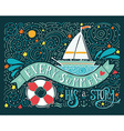 Every summer has a story Hand drawn print with a vector image vector image