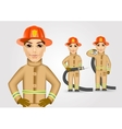 firefighter in brown uniform holding fire hose vector image