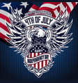 flat background with eagle blue for usa happy vector image