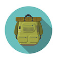 Flat design modern of tourist backpack icon vector image vector image