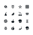 Fruit and desert icons in flat style vector image