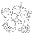 Funny sea animals in black and white vector image