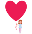 Girl presents a Valentine a heart vector image vector image