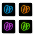 glowing neon coffee beans icon isolated on white vector image