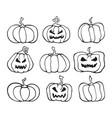 halloween pumpkin comic set cartoon collection vector image