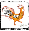 Hand drawn silhouette rooster eat vector image