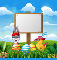 happy easter bunny and chick with blank sign on th vector image vector image