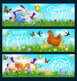 happy easter bunny hen with chicks eggs vector image
