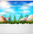 happy easter eggs on grass background vector image