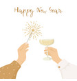 happy new year greeting card womens hands vector image