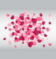 heart confetti splash love background pink vector image