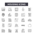 Housing line icons signs set outline